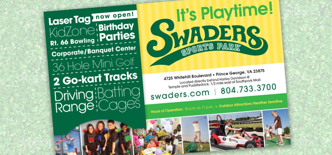 Postcard Design Swaders Sports Park