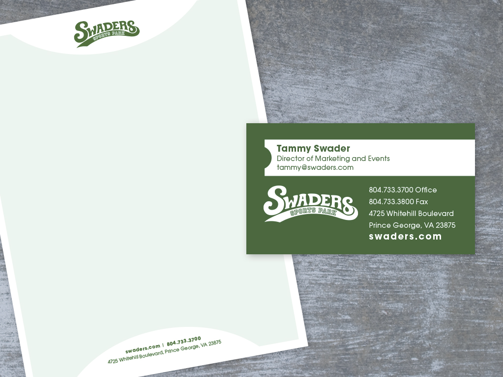 swaders letterhead business card