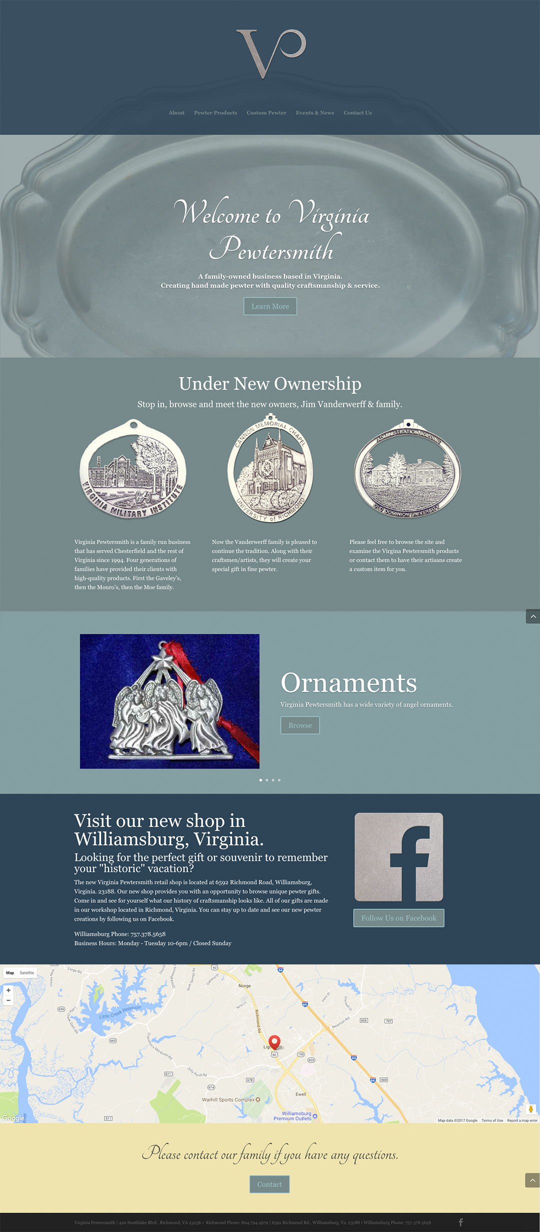 final home page layout for Virginia Pewtersmith Website