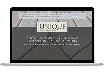 Website Design for Unique Design + Build Group